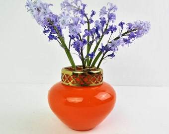 Orange glass vase, small vase, posey vase with flower arranging grille