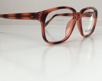 Amber Fade Vintage Glasses, Brown Oversized Hipster Eyeglass Frames, Antique Men's Square Wayfarer Horn Rim Eyeglasses, Deadstock NOS 118