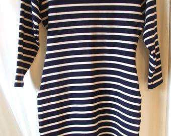 ETAM Mini Dress/Tunic, Blue and White Striped, Lycra Spandex, Size 8 (US), 12 (EUR) (#724)