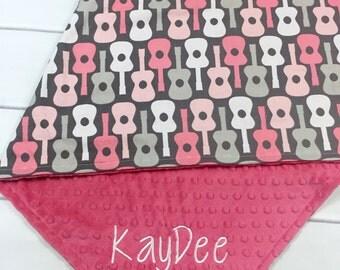Baby girl Gift -Personalized Baby Girl Blanket - Minky Baby Blanket - Guitar Baby Blanket - Embroidered Baby Blanket - Monogrammed Baby Gift