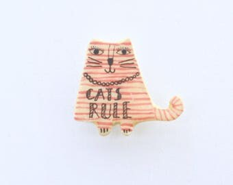 cat mom red cat, cats rule, cats rule pin, red cat pin