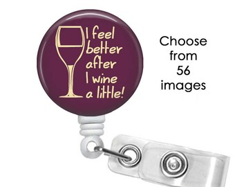 Wine Badge Reel, ID Badge Holder clip, Alcohol Badge Reel, Vino Badge Reel, Grapes Badge Reel, Merlot badge reel, cork screw badge reel