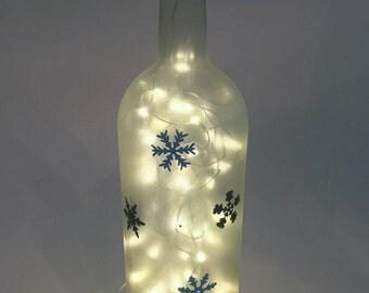 Snowflake Wine Bottle Light / Snowflake / Winter Decor