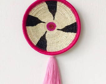 Chunga Round - Pink, wall basket, rattan basket, wall plate, rattan plate, woven plate, woven basket, tribal hanging, wall decor