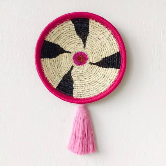 Rattan Wall Decor Round : Chunga round pink wall basket rattan plate
