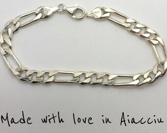 Man 925 solid silver curb bracelet