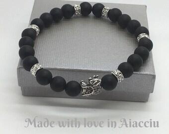 Mens bracelet black tourmaline beads Matt