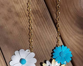 Teal/Yellow Flower Bib Necklace