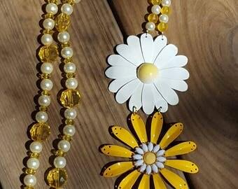Yellow Daisy Double Strand Necklace