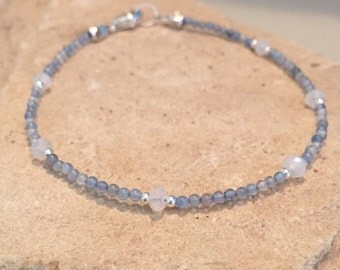 Blue bracelet, gemstone bracelet, sundance style bracelet, blue quartz bracelet, moonstone bracelet, sterling silver bracelet, gift for her