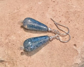 Blue glass drop earrings, dangle earrings, Czech glass teardrop bead earrings, Hill Tribe silver earrings, silver drop earrings