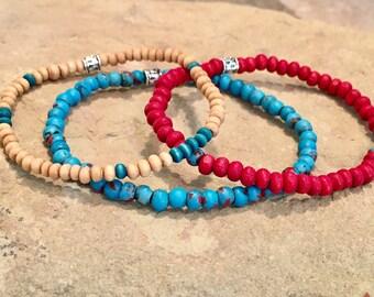 Tan, blue and red boho bracelets, wood bead bracelet, stretch bracelets, elastic bracelet, stacklable elastic bracelets, gift for her