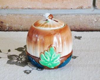 Japanese acorn shaped sugar bowl with lid, vintage 1960s kitchenalia, housewarming gift