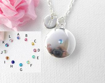 Silver crystal round locket, Locket necklace, Locket,Initial necklace, silver locket necklace, silver round necklace, silver SRL0C1