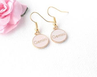 Gemini earrings,Gemini jewellery, Gemini birthday, Gemini gift, zodiac earrings, constellation earrings, gold earrings, gold drop earrings