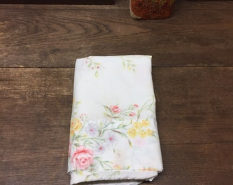 Vintage Pillowcase Linens Lavender Pink Yellow Floral