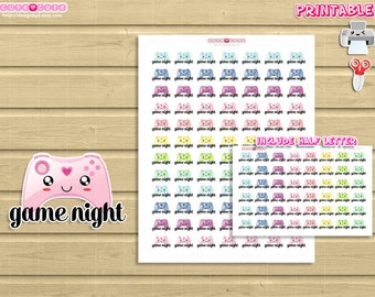 Functional Game Night Kawaii Printable Stickers. Print and cut set for your life planner.
