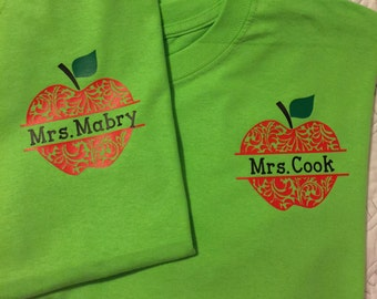 Teacher Apple Custom Shirt - YOU CHOOSE!