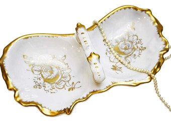 Vintage Hand Painted Two-Section Dish, Gold Roses, Floral Nut Dish, Vintage Kitchenware, Housewarming Gift