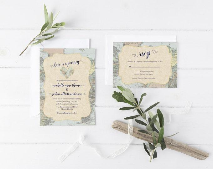 Destination Wedding Invitation, Travel Wedding Invitation, Map Wedding Invitation, Adventure Wedding Invitation, Printable