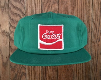 Vintage 80s 90s Deadstock Coca Cola Classic Coke Soda Pop Soft Drink Snapback Hat Baseball Cap Patch * Made In USA