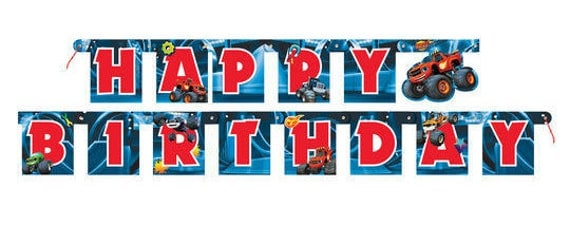 Blaze And The Monster Machines Happy Birthday Banner