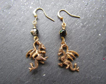 Golden Dragons and Cloisonné Earrings,  Dragon Earrings, Gold Earrings, Gift for Dragon Lover, Oriental Earrings, Unique Earrings, Dragon