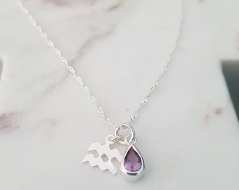 Sterling Silver Amethyst and Aquarius Charm Necklace