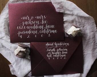 """Wedding Envelope Addressing """"Marigold"""" Style, Wedding Calligraphy, Event Calligraphy, Envelope Calligraphy, Event Calligraphy"""