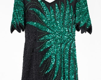 Beautiful vintage green sequin dress