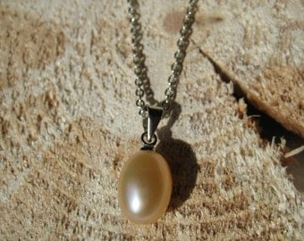 Sterling Silver Peach Freshwater Pearl Necklace