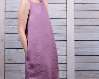 Linen holiday dress / Sleeveless mini dress / day dress with tassels  / loose fit dress / lilac