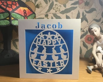 Easter Card - Personalised - Papercut - Happy Easter Card - Easter Bunny - Easter Chick - Easter Egg Card - Personalized - Mum - Dad
