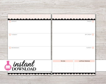 A5 Planner Printable - Weekly Inserts - Filofax A5 - Kikki K Large - Design: Mademoiselle