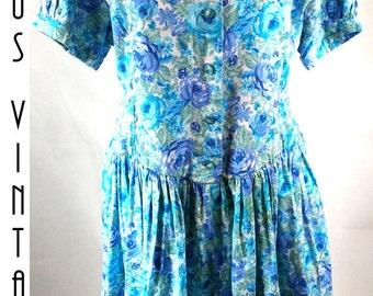 "Plus Size UK 22 Vintage 1980s Blue Floral Tea Dress Full Skirt 50s Style Mad Men EU 50 US 18 Bust 48"" 122cm"