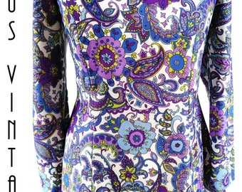 "UK 14 Vintage 1960s Psychedelic Tunic Smock Top Purple Floral Mod Mad Men EU 42 US 10 Bust 40"" 102cm"