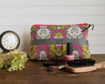 Large Gusset Make Up Bag - Hot Pink, Grey and Lime Paisley, Grey Ribbon Trim,  Large Zipper Bag, Holds alot of make up