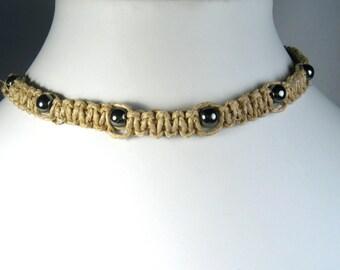 Handmade Flat Hemp Choker Necklace with Hematite Stone Beads