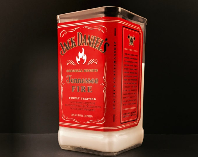 Recycled Jack Daniel's Fire Whiskey Bottle Candle