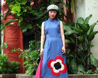 Blue Modern Qipao Dress Flower Red Khaki Black, Modern Cheongsam Dress