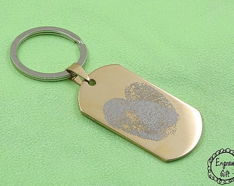 2 in 1 Love Actually My Finger Print Engrave on Stainless Steel Army Dog Tag - 6 Colors