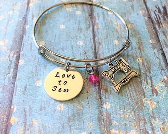 Love to Sew Bracelet - Sewing Bracelet - Seamstress Gift - Sewing Jewelry - Sewing Gift - Gift for Sewers - Bangle Bracelet - Charm Bracelet