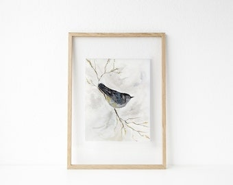 Looking for Spring / Blue Bird Perched Watercolor / UNFRAMED Art Print / 8.5 x 11 in / 11 x 15 in