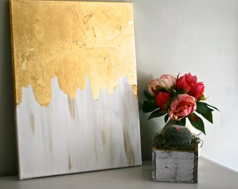 White & Gold | Gold Leaf Painting | Modern Art | Acrylic Painting | Shabby Chic Artwork | White and Gold Painting | Neutral Painting |