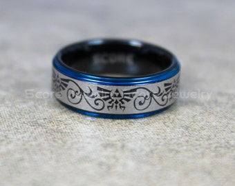 free shipping free custom engraving 8mm black tungsten band with blue step edge loz pattern - Geeky Wedding Rings