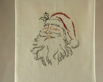 Santa Claus Embroidered Kitchen Towel / Dish Towel