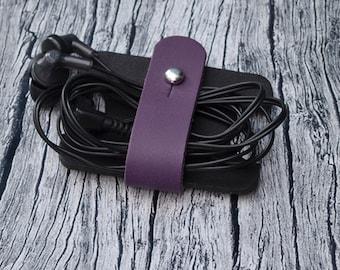 Leather Earphone Organizer // Headphone Holder - Cable Organizer - Headphone Case - Cable Holder - Cord Organizer - Cord Holder