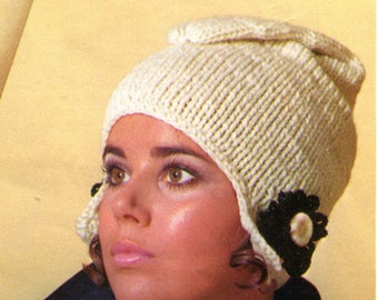 Vintage Mod Winter Stocking Cap Knitting Pattern PDF Instant Download