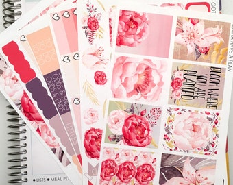 Planner Stickers Peony Bloom Weekly Kit for Erin Condren, Happy Planner, Filofax, Scrapbooking