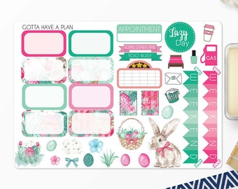 Planner Stickers Easter Basket Half Boxes and Deco for Erin Condren, Happy Planner, Filofax, Scrapbooking